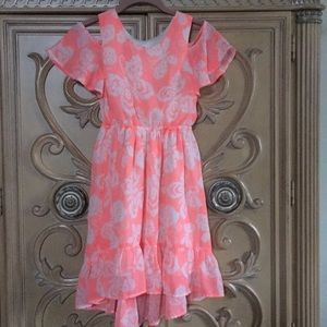 Place coral butterfly silky cold shoulder dress7/8